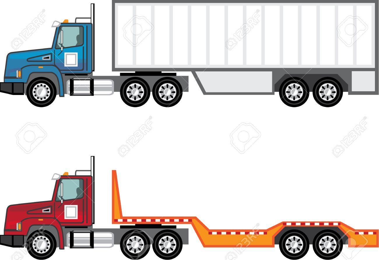 Trailer truck vector illustration clip.