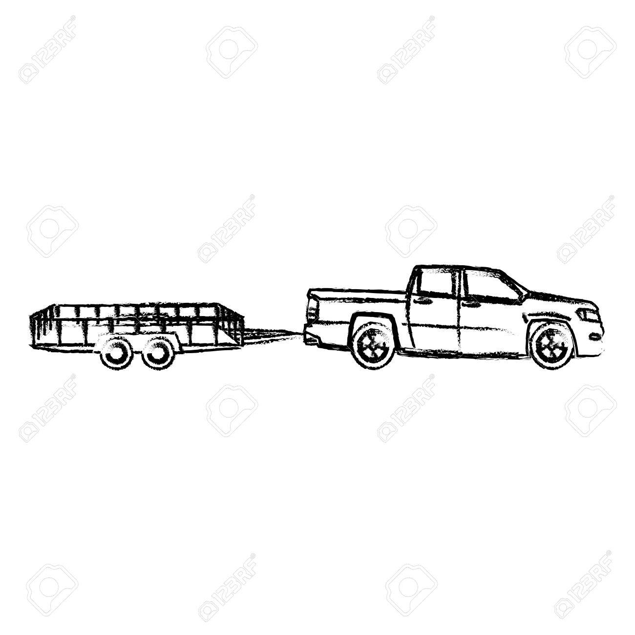pickup truck trailer cargo shipping image vector illustration.