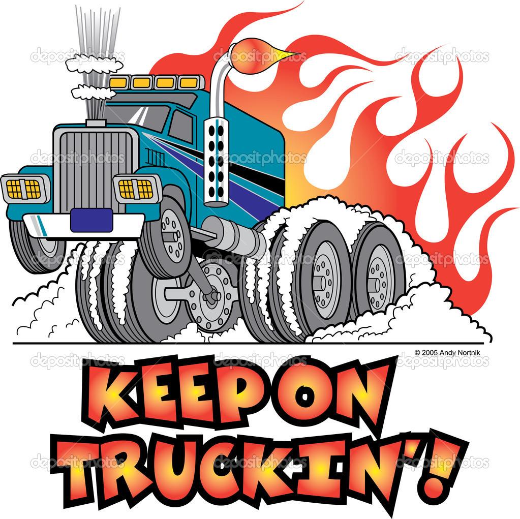 Semi Truck Driver Clipart.
