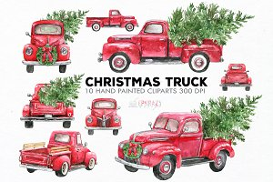 Christmas truck clipart.