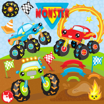 Monster trucks clipart commercial use, vector graphics.