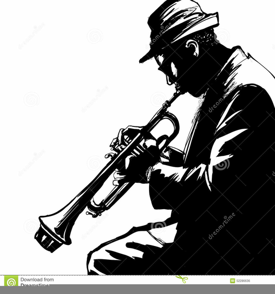 Trumpet Player Silhouette Clipart.
