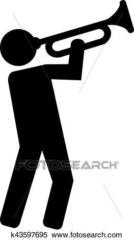 Trumpet player pictogram Clipart.