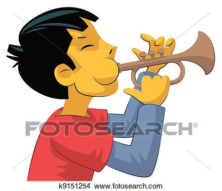 Trumpet player teenage boy Clipart.