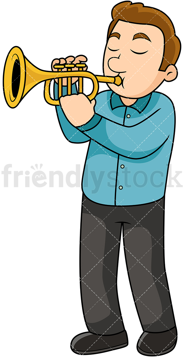 Young Man Playing The Trumpet.