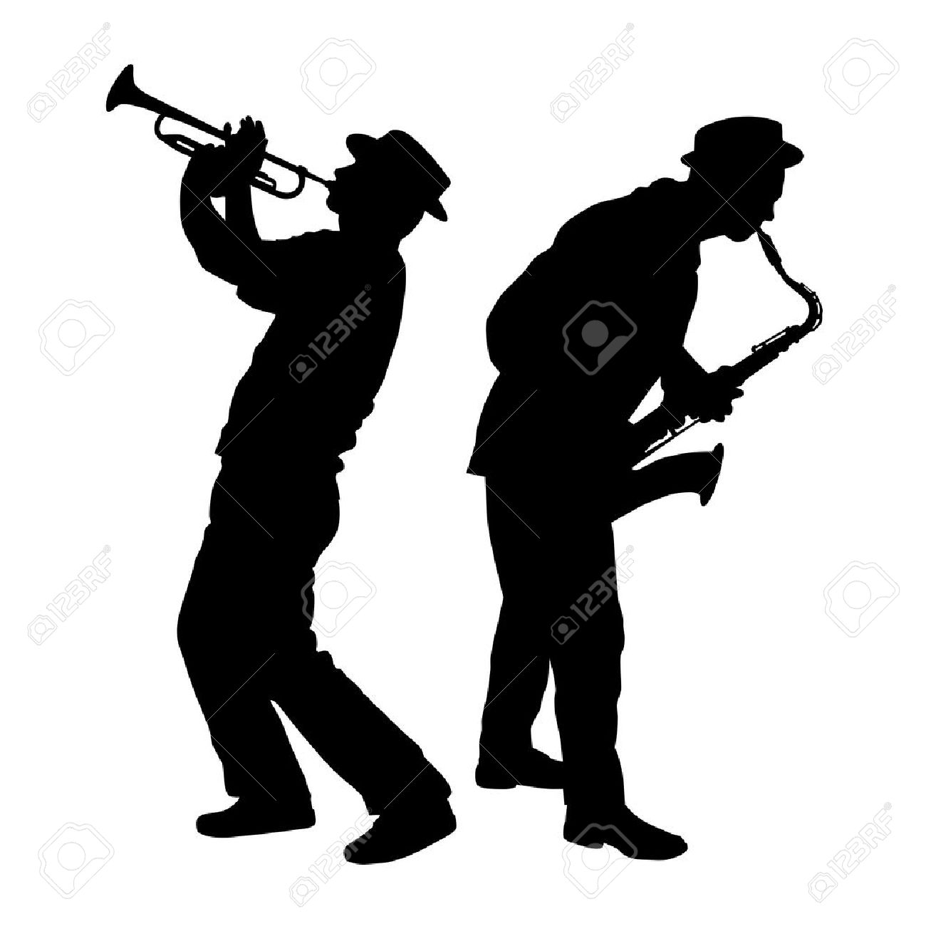 silhouette of a saxophone and trumpet player.
