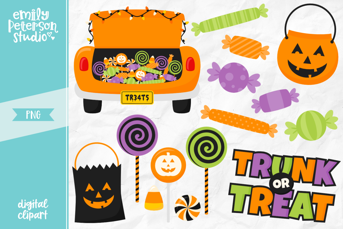 Trunk or Treat Clipart Illustration PNG.