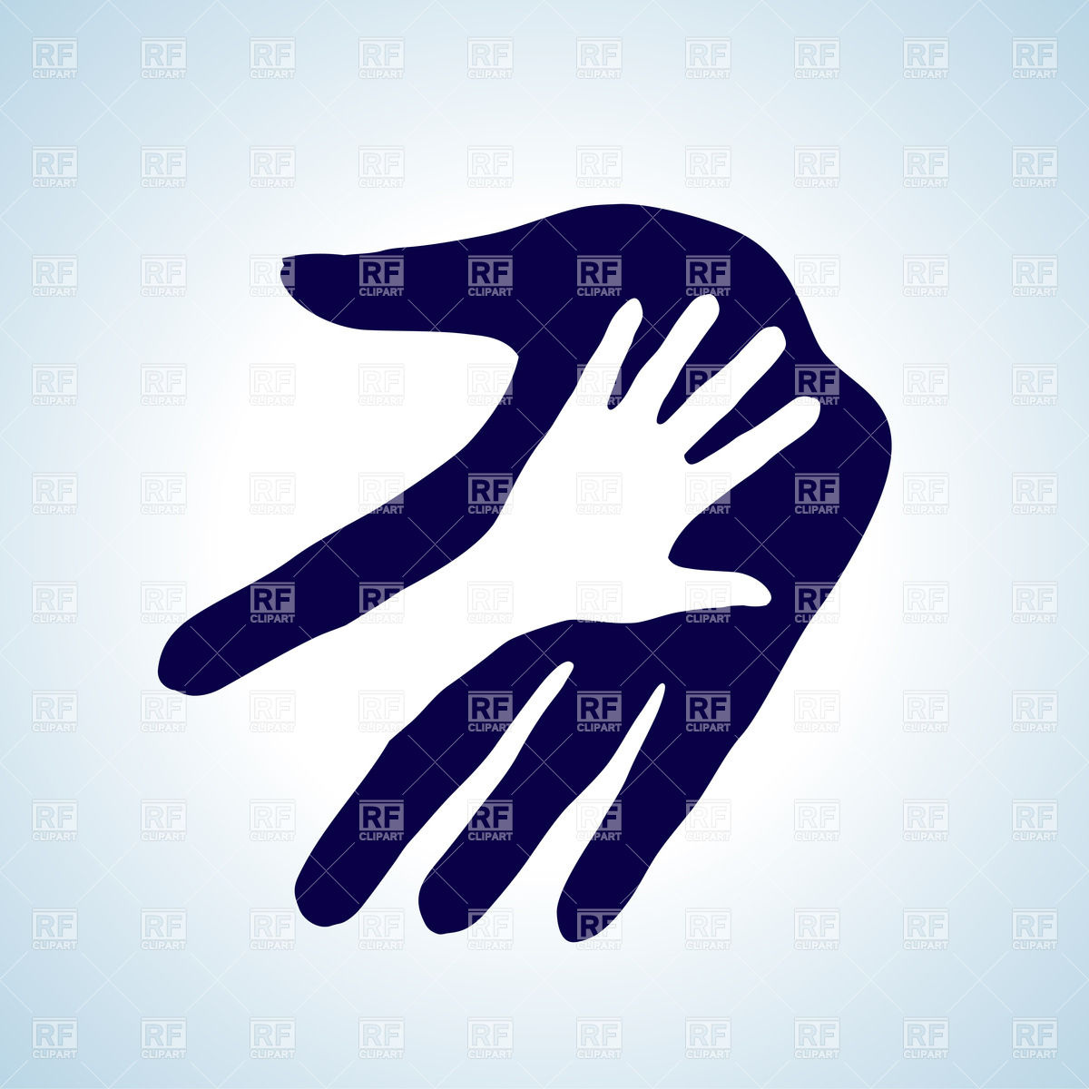 Hand in hand icon. Concept of trust Stock Vector Image.