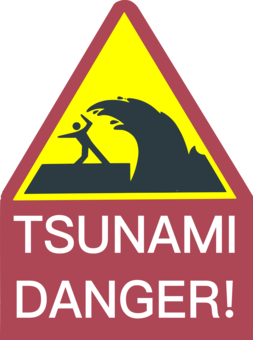 Tsunami Warning System photo background, transparent png.