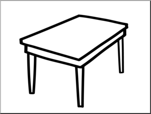 Clip Art: Basic Words: Table B&W Unlabeled I abcteach.com.