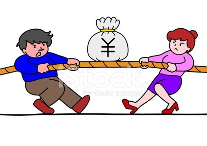 tug of war for money Clipart Image.
