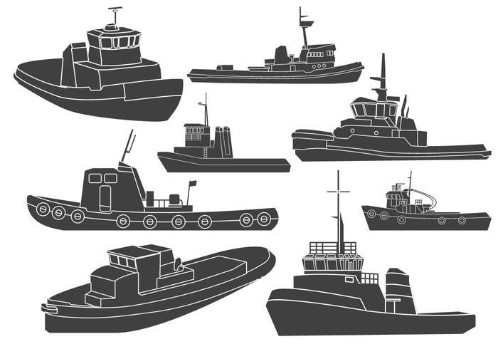 Tugboat Clipart Vectors eps file.