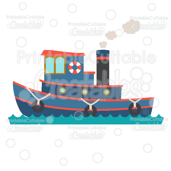 Tugboat Cuttable SVG File & Clipart for Silhouette, Cricut.