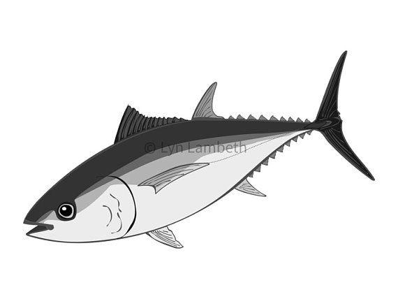 Tuna clipart, instant download, hand drawn digital tuna.