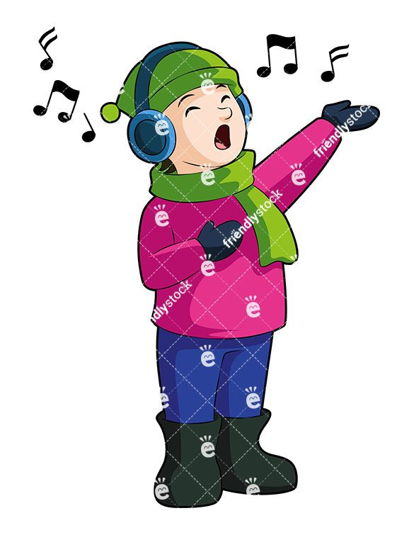 A Little Boy Singing Along To A Christmas Tune Playing On.