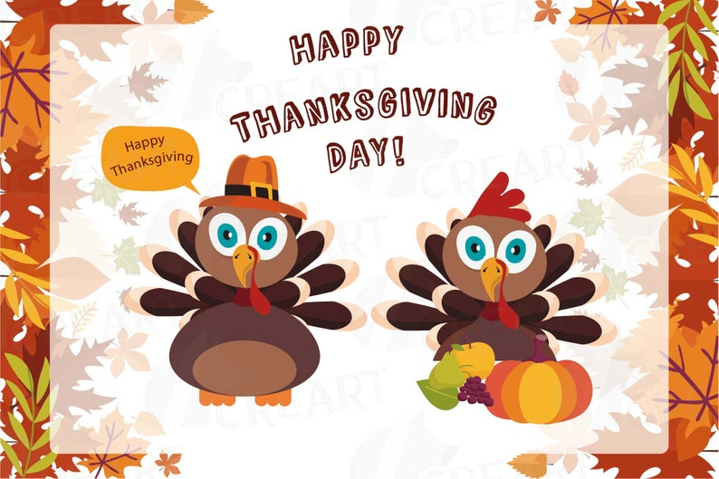 Colorful Thanksgiving Turkey clip art, Happy Thanksgiving, Thanksgiving  Frame and Card vectors in Svg, Ai, Eps, Pdf, Png, CDR, JPG files.