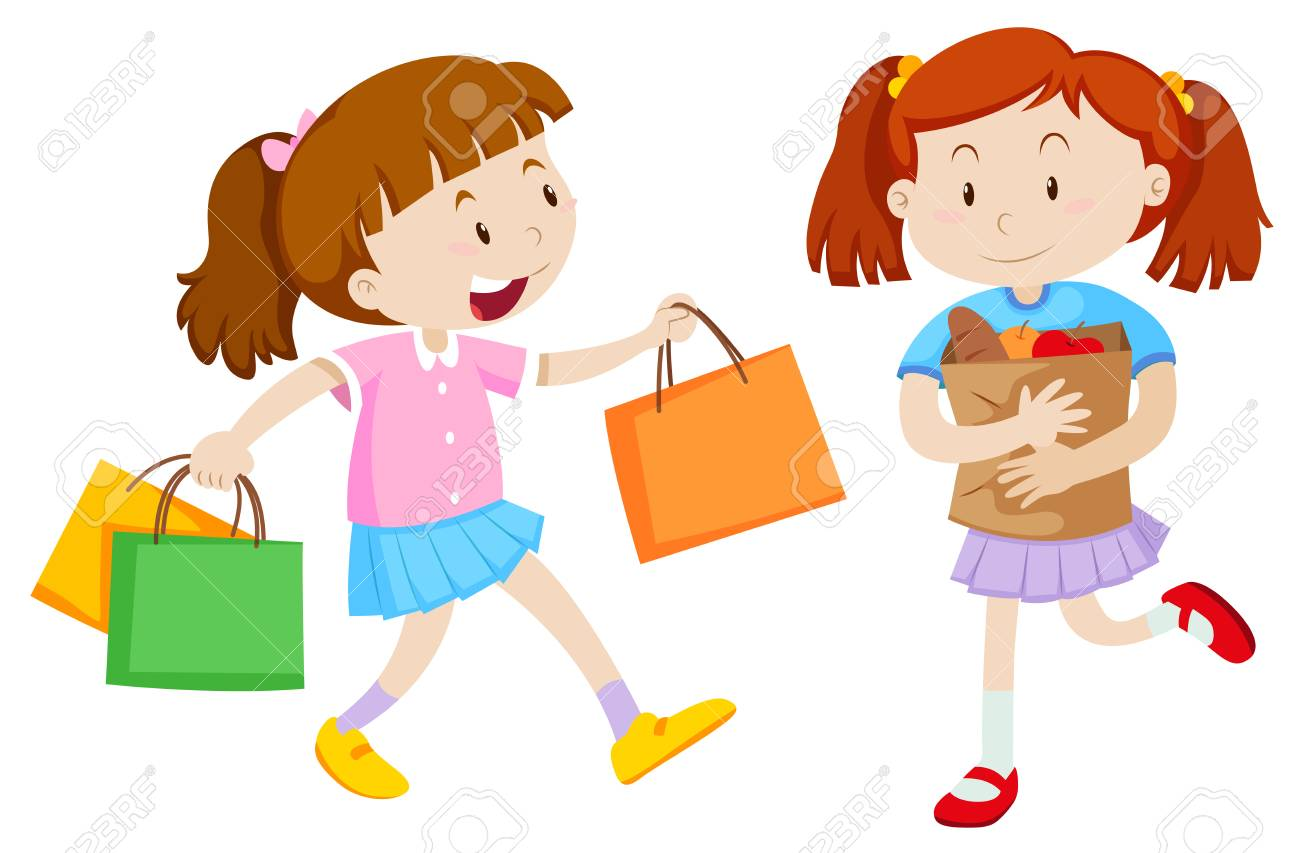 Two girls with shopping bags illustration.