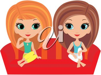 Clip Art Illustration of Two Female Friends Sitting on a Couch.