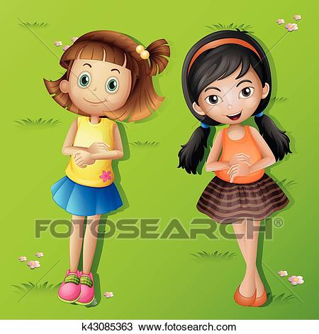 Two girls lying back on green grass Clipart.