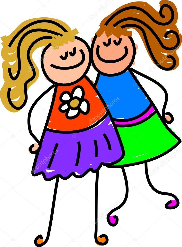 Clipart: girls holding hands.