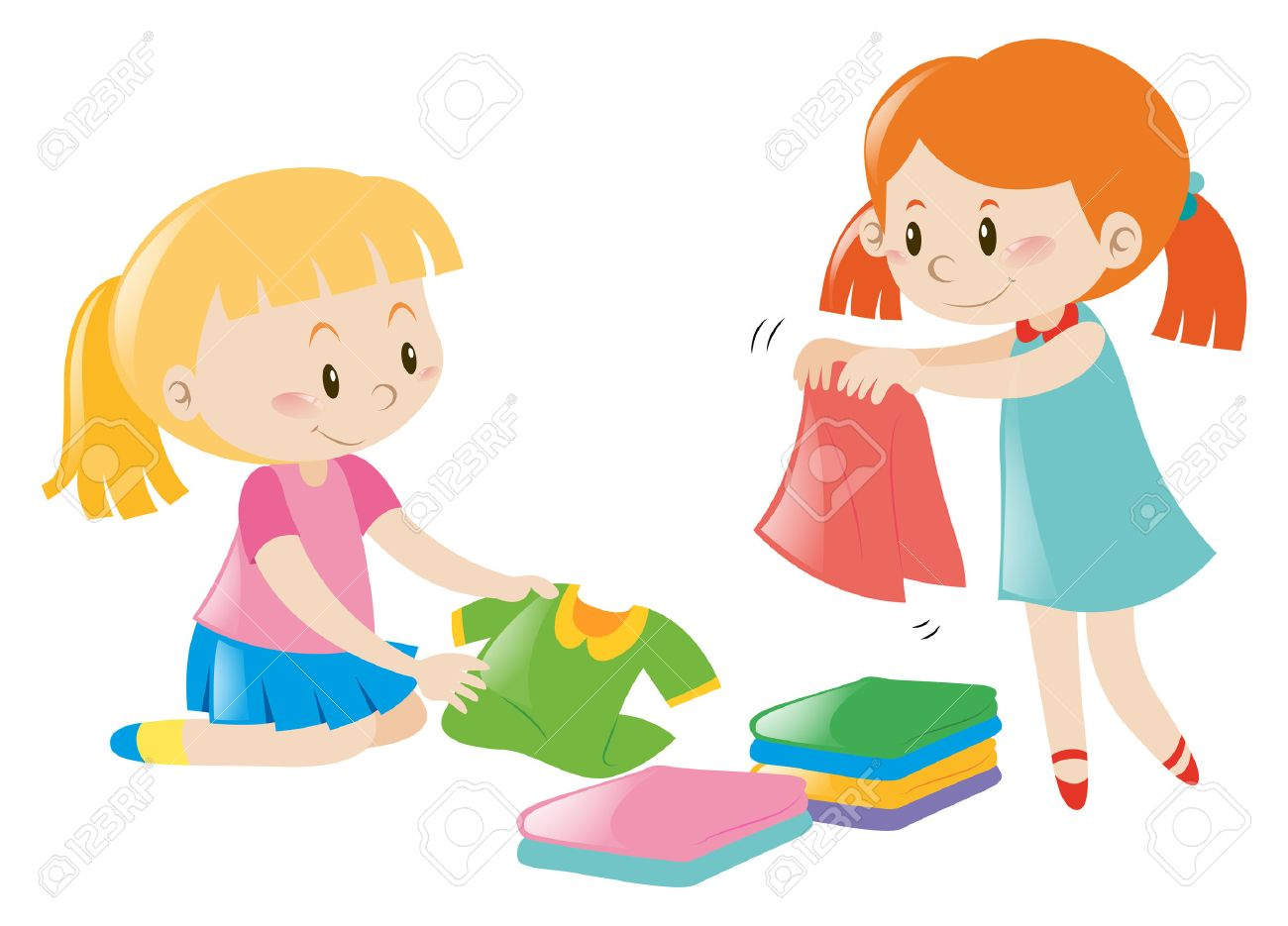Two girls folding clothes illustration.
