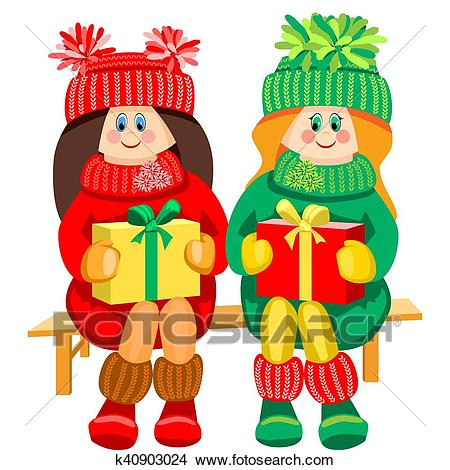 Two girls on the bench. Clipart.