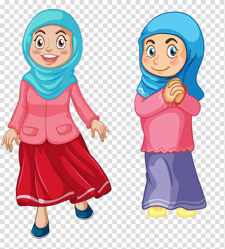 Two girls illustration, Muslim Islam Child , Muslim Girl transparent.