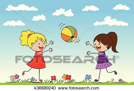 Two girls playing with a ball Clipart.