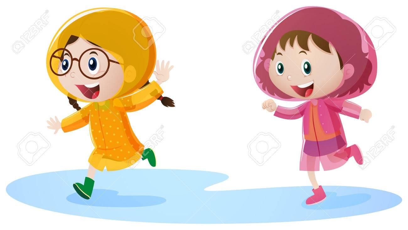Two girls in raincoat running illustration.