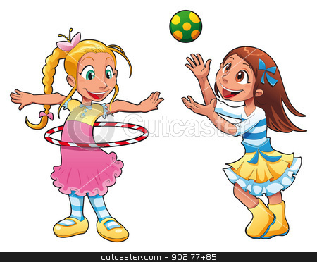 Two Girls Are Playing.