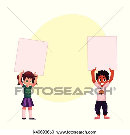 Two kids holding blank empty posters, boards over head Clipart.