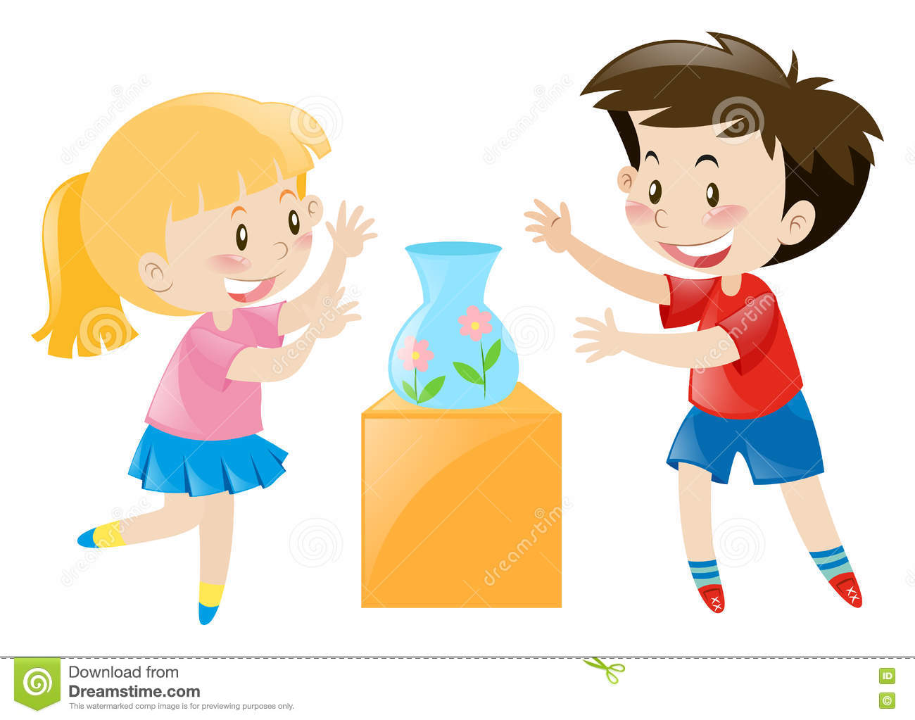 Two kids and empty vase stock vector. Illustration of clipart.