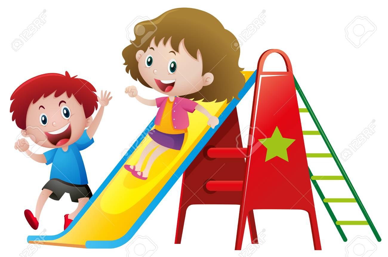 Two kids playing on slide illustration.