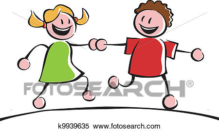 Two kids holding hands Clipart.