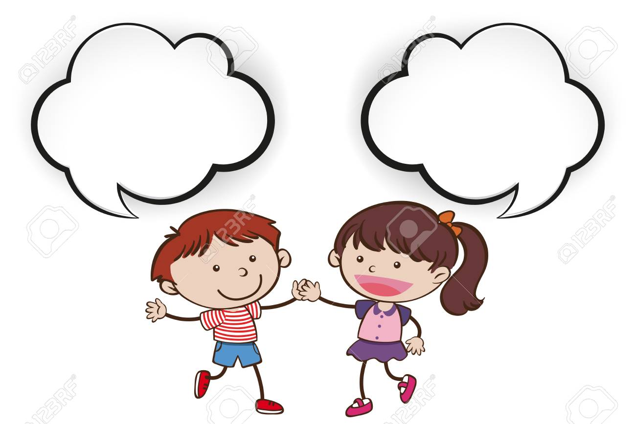 Two Kids with Speech Bubble illustration..