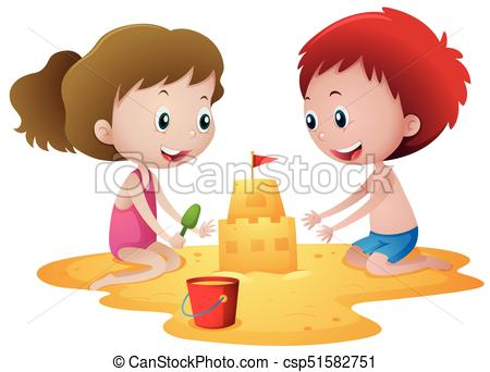 Two kids playing with sandcastle.
