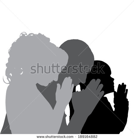 Silhouette People Praying Clipart.