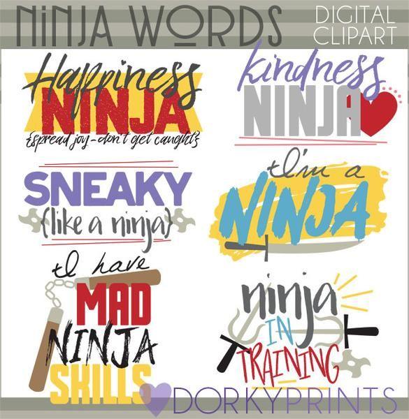 Ninja Words Hero Clipart.