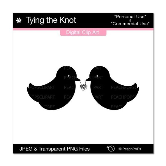 Tying the Knot Birds Black Silhouette digital clip art.