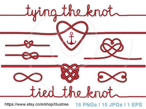 wedding clipart, tying the knot, anchor digital clip art, nautical.