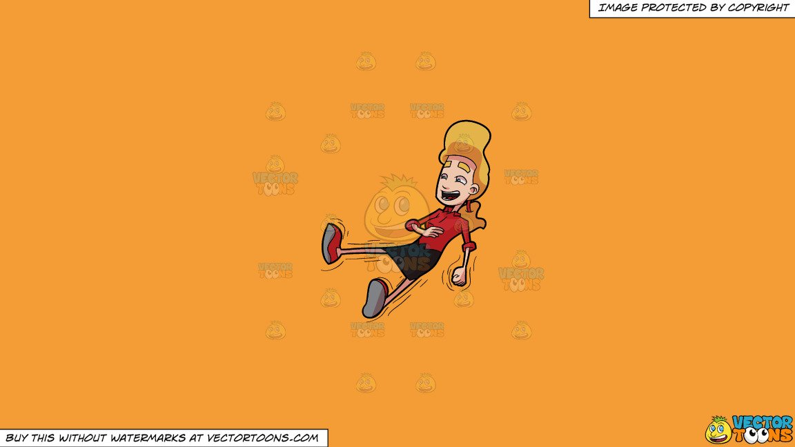 Clipart: A Woman Laughing Uncontrollably on a Solid Deep Saffron Gold  F49D37 Background.