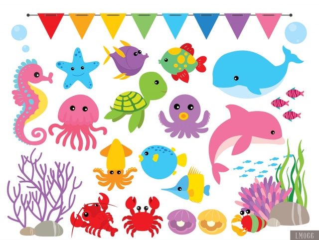 Under The Sea Digital Clipart and Papers.
