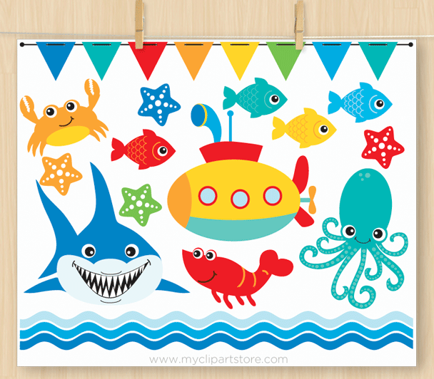 Under The Sea Set 2 Clipart.