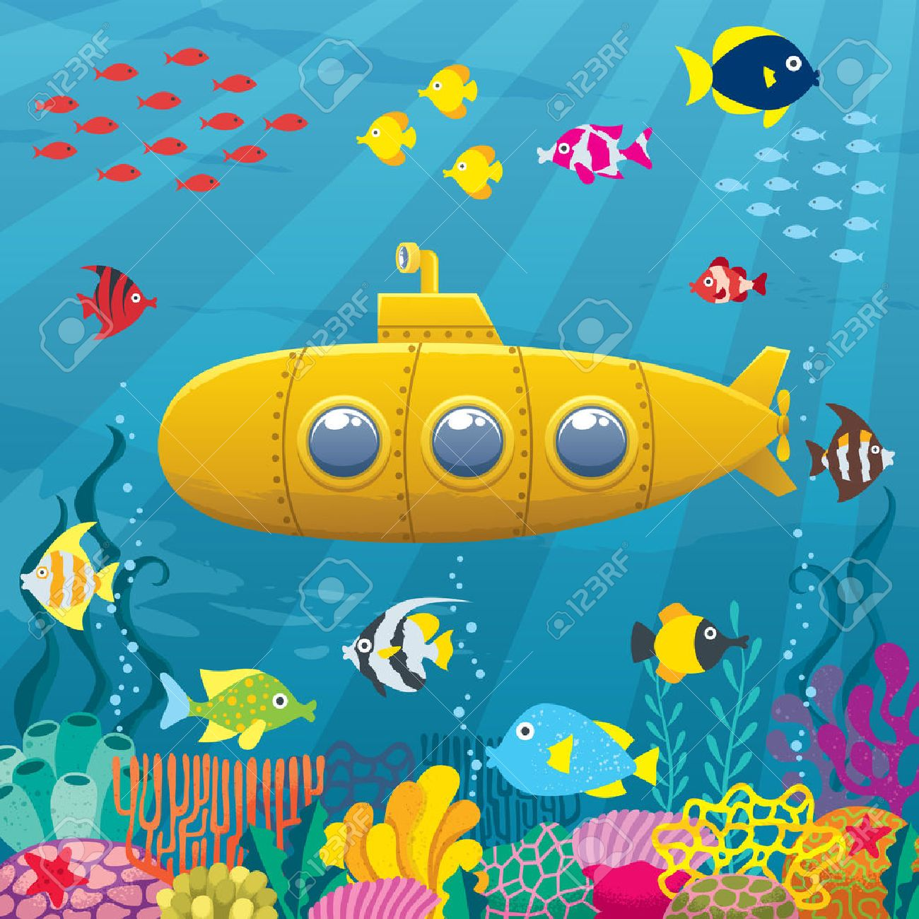 Cartoon yellow submarine underwater..