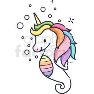 seahorse unicorn vector icon clipart . Royalty.
