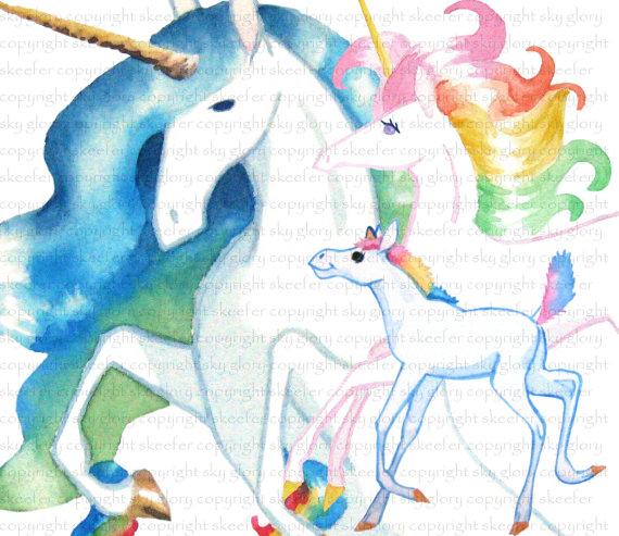 Clipart unicore family.