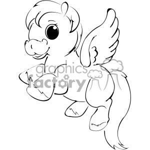 black white cartoon unicorn vector clip art clipart. Royalty.