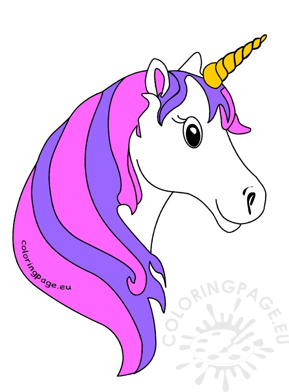 Cute unicorn face clipart.