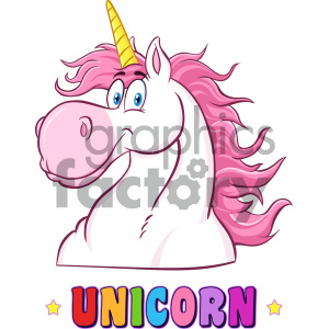 Clipart Illustration Smiling Magic Unicorn Head Classic Cartoon Character  Vector Illustration Isolated On White Background With Text clipart..