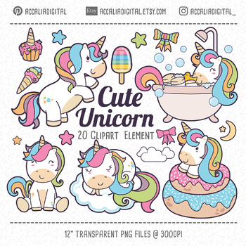 Cute unicorn clipart.